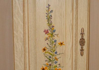 porte cuisines février bois dessin fleurs 2