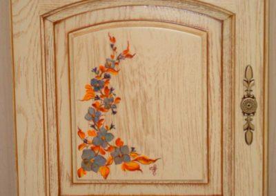 porte cuisines février bois dessin fleurs